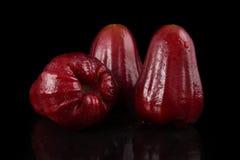 Maçã cor-de-rosa vermelha no fundo preto Fotografia de Stock Royalty Free