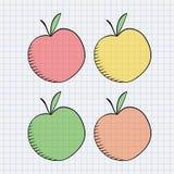 Maçã desenhada mão Imagens de Stock