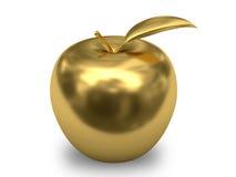 Maçã dourada no fundo branco Fotos de Stock Royalty Free