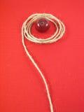 Maçã e corda vermelhas Foto de Stock