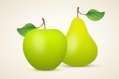 Maçã e pera verdes Foto de Stock