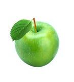 Maçã fresca verde com a folha isolada Fotos de Stock