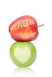 Maçã fresca verde e vermelha para a saúde Isolado no branco Fotos de Stock Royalty Free