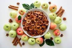 A maçã orgânica sol-secada caseiro corta microplaquetas friáveis da maçã com maçã e canela frescas no fundo de madeira branco Fotos de Stock Royalty Free