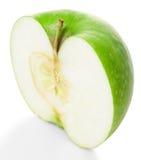 Maçã parcialmente verde imagens de stock