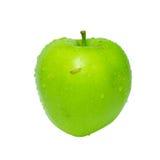 Maçã verde com lagarta. imagens de stock royalty free