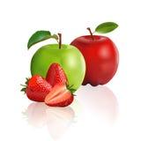 Maçã verde, maçã vermelha e morango ilustração royalty free