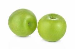 Maçã verde no fundo branco Imagens de Stock