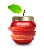 Maçã vermelha como o frasco do doce isolado. imagens de stock