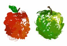 Maçã vermelha e verde Imagem de Stock