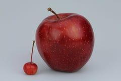 Maçã vermelha pequena e grande Fotografia de Stock