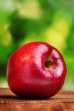Maçã vermelha suculenta em de madeira Imagem de Stock