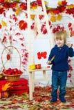 Maçãs bonitos da pintura do rapaz pequeno no outono imagens de stock