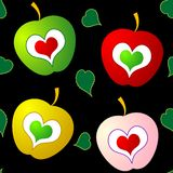 Maçãs coloridas e vetor sem emenda dos corações Foto de Stock Royalty Free