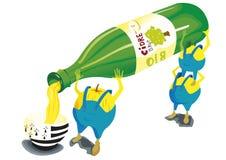 Maçãs com garrafa da cidra ilustração stock