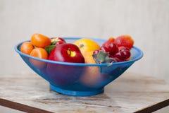Maçãs com uvas e laranjas na peneira foto de stock royalty free