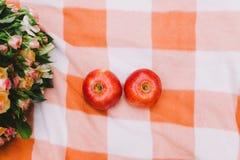 Maçãs e alianças de casamento vermelhas em uma cobertura da manta perto da cesta foto de stock royalty free