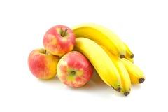 Maçãs e bananas Fotografia de Stock