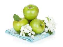 Maçãs e flores verdes maduras Fotografia de Stock