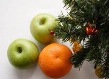 Maçãs e laranja verdes sob uma árvore do ano novo Foto de Stock