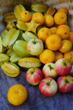 Maçãs e laranjas de Starfruits imagens de stock