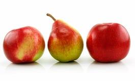 Maçãs e pera maduras em uma fileira isolada no branco imagem de stock royalty free