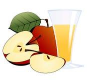 Maçãs e um vidro do sumo de maçã Foto de Stock