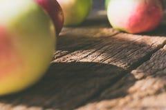 Maçãs em um fundo de madeira Imagem de Stock Royalty Free