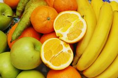 Maçãs, laranja e bananas em   Imagens de Stock Royalty Free