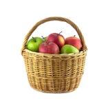Maçãs maduras da cor na cesta de vime marrom isolada Fotos de Stock Royalty Free