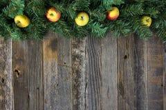Maçãs na festão do pinho do Natal na madeira Imagens de Stock Royalty Free