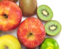 Maçãs, tangerines e quivis imagens de stock royalty free