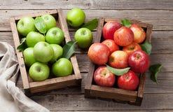 maçãs verdes e vermelhas na caixa de madeira Fotos de Stock
