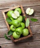 Maçãs verdes na caixa de madeira Foto de Stock Royalty Free