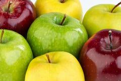 Maçãs vermelhas, amarelas e verdes maduras no fundo branco Imagem de Stock