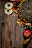 Maçãs vermelhas do outono do vintage no fundo de madeira Imagens de Stock