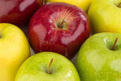 Maçãs vermelhas e amarelas maduras no fundo branco Fotos de Stock