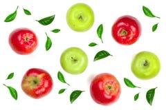 Maçãs vermelhas e verdes decoradas com as folhas verdes isoladas na opinião superior do fundo branco Teste padrão liso da configu Fotografia de Stock