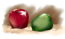 Maçãs vermelhas e verdes na toalha de mesa de creme Foto de Stock