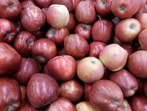Maçãs vermelhas frescas no contador fotografia de stock