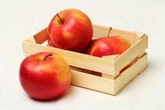 Maçãs vermelhas grandes na caixa de madeira Imagem de Stock