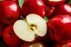 Maçãs vermelhas maduras frescas Fotografia de Stock
