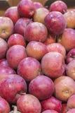 Maçãs vermelhas para fundos Fundo vermelho das maçãs na loja departamental Foto vertical foto de stock