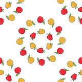 Maçãs vermelhas, vetor amarelo Fundo sem emenda do teste padrão com maçãs coloridas Maçãs maduras Fotos de Stock Royalty Free