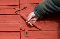 Maçaneta de porta vermelha Foto de Stock Royalty Free