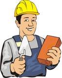 Maçon avec la brique illustration de vecteur
