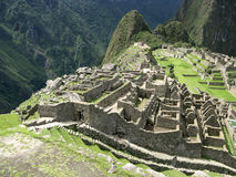 Maçonnerie antique de Machu Picchu. Le Pérou Photos stock
