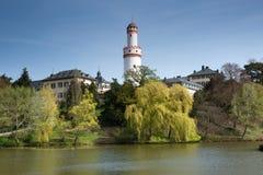 Mán Homburg Schloss y lago imagen de archivo libre de regalías