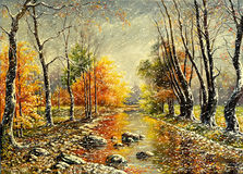 Mán tiempo del otoño stock de ilustración