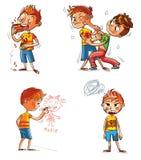 Mán comportamiento Personaje de dibujos animados divertido stock de ilustración